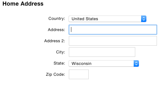 Address Form with Defaults