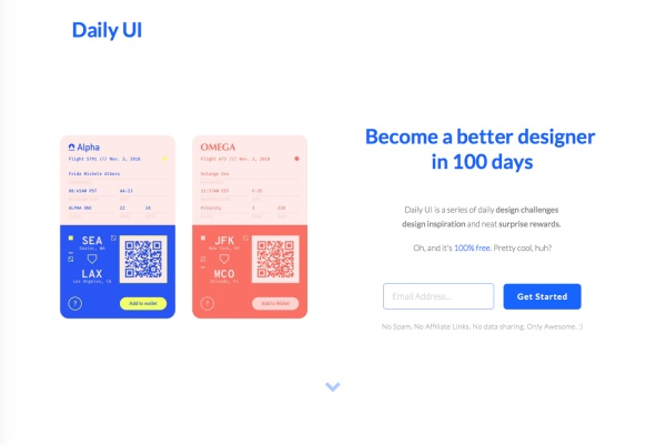 Daily UI Challenges website
