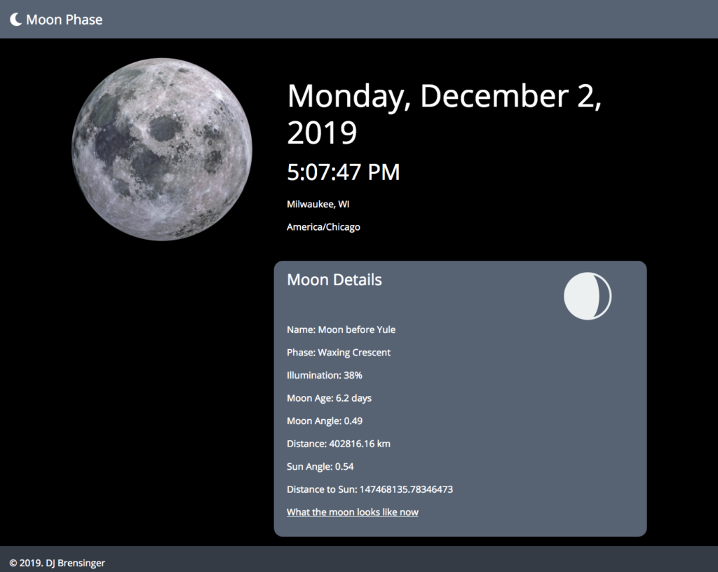 Screenshot of Moon Phase - Dec. 2, 2019