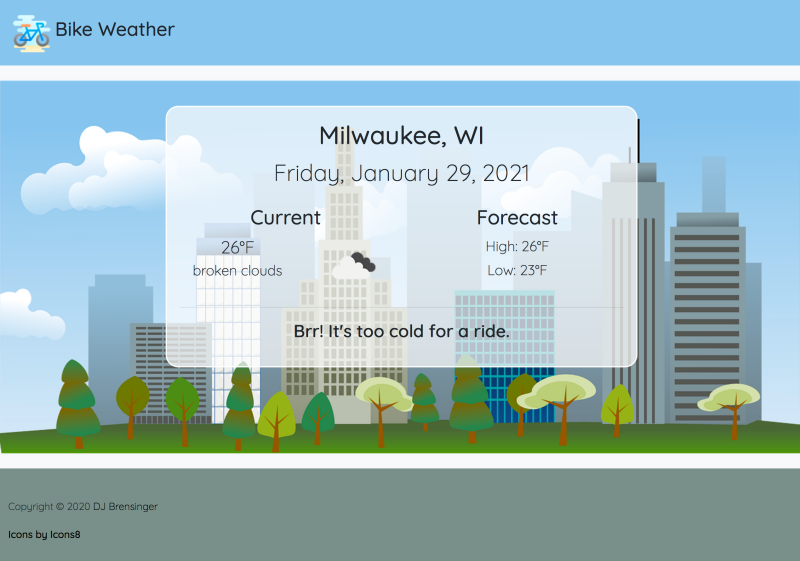 Bike Weather App Screenshot